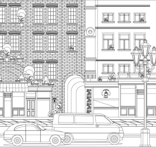 coloriage gratuit, café de ville