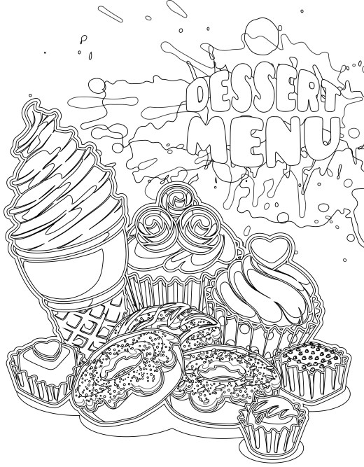 coloriages adulte gratuit, menu dessert
