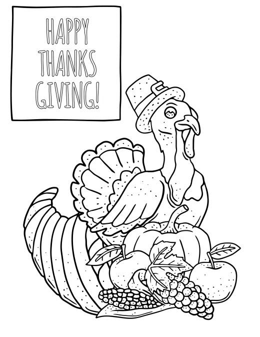 Coloriage de thanksgiving Action de grâce
