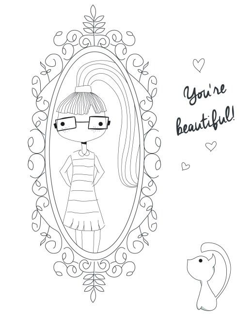 dessin anti stress fillette reflet miroir