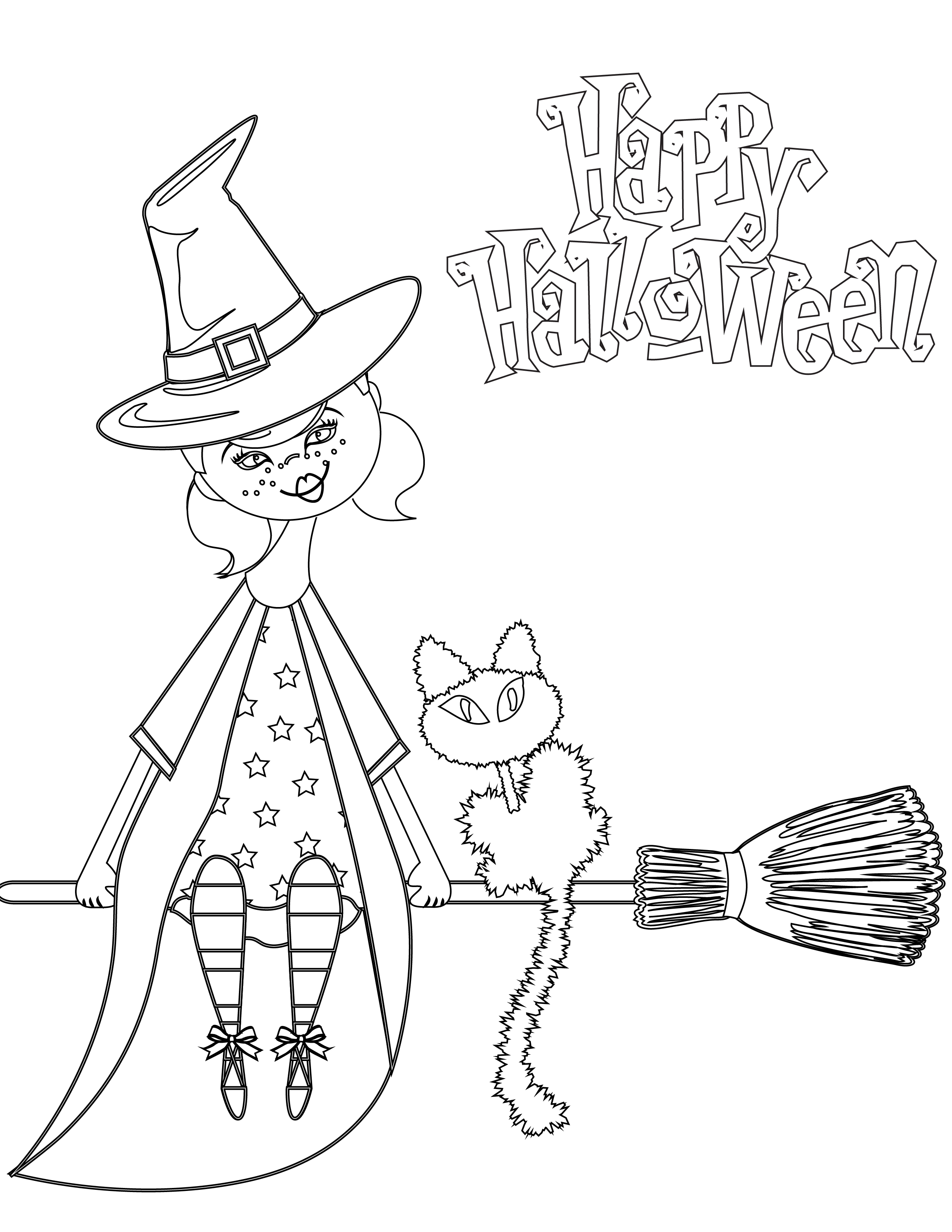 Dessin A Imprimer Joyeux Halloween Sorciere Artherapie Ca