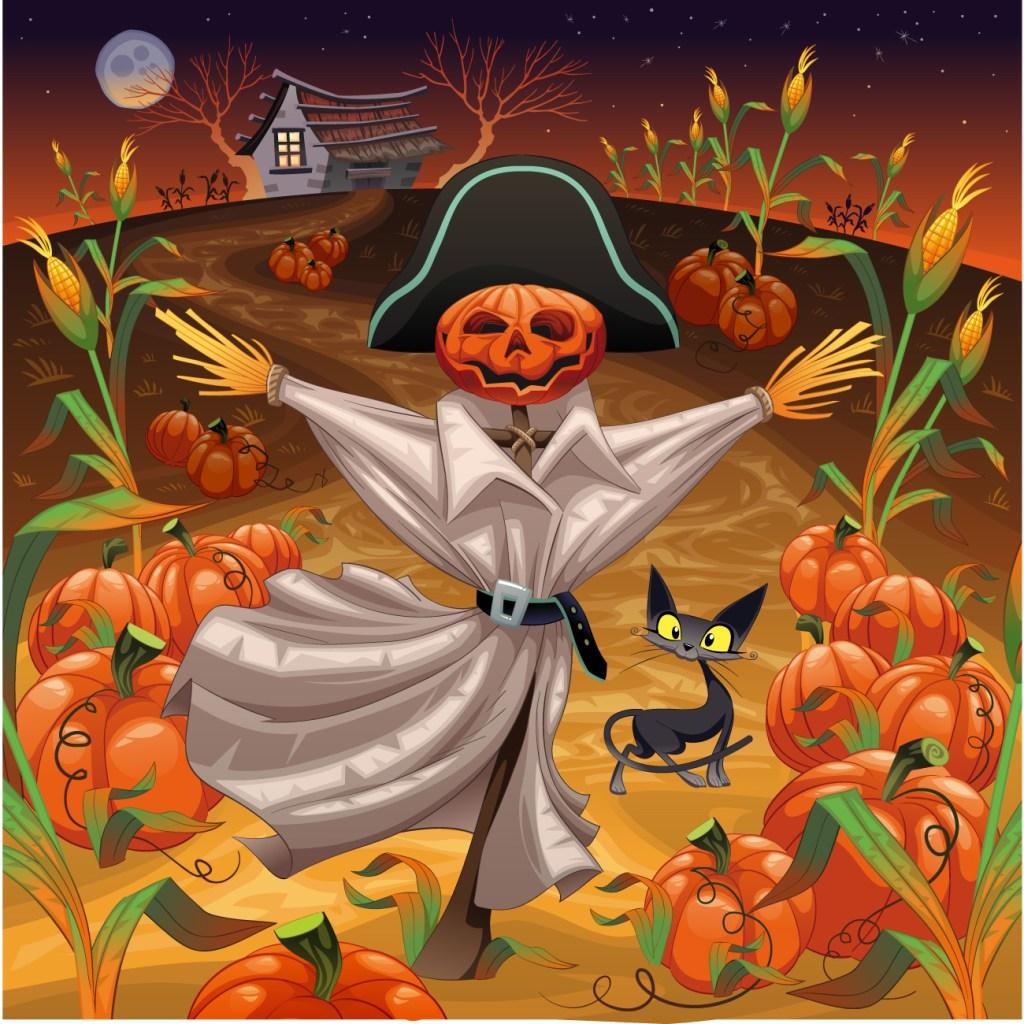 Coloriage pour adulte épouvantail Halloween