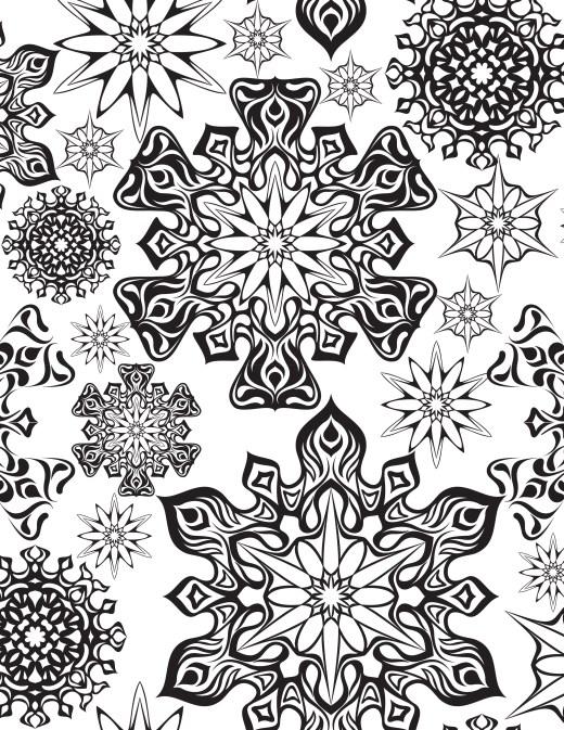 coloriage à imprimer flocons première neige