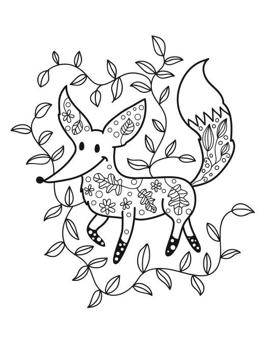 coloriage de petit renard automne gratuit