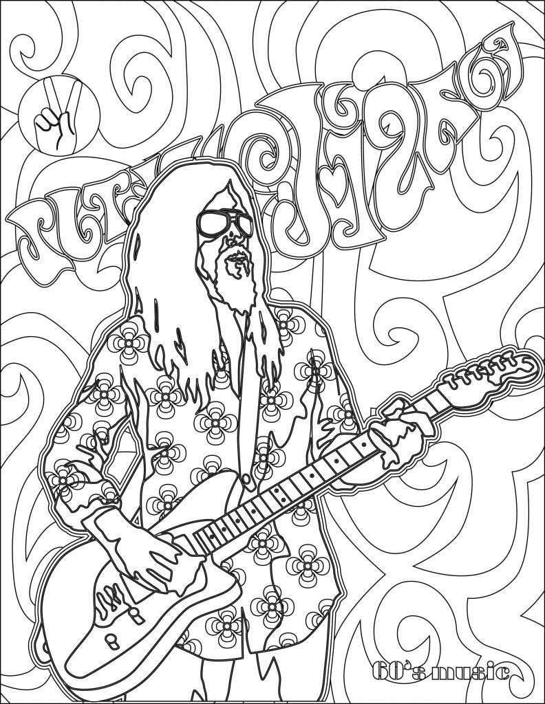 coloriage musique année 60 hippie