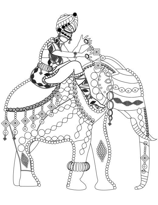 Coloriage gratuit éléphant du sud de l inde