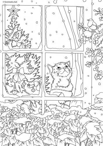 image noel à imprimer chaton par la fenêtre
