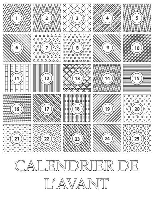 Calendrier gratuit décembre à colorier de l'avant noel