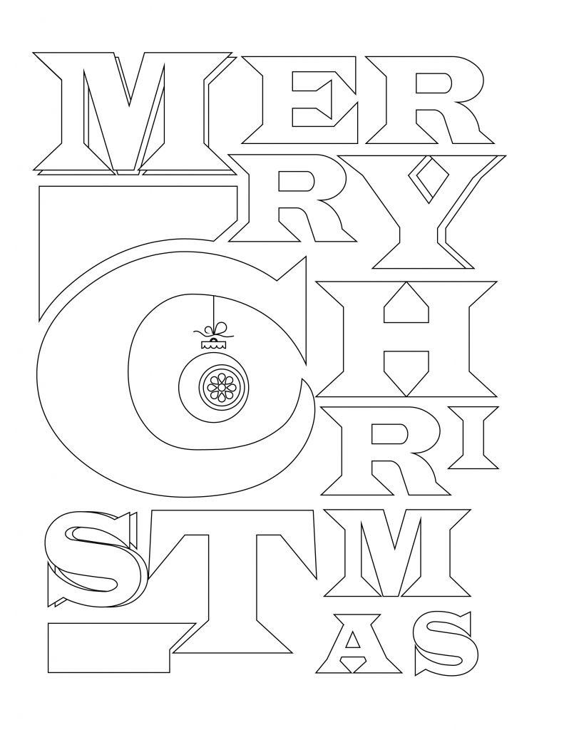 Joyeux Noel Merry Christmas Typographie A Colorier Artherapie Ca
