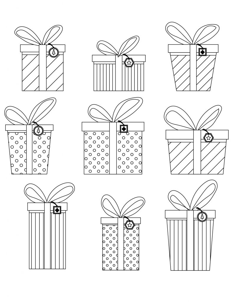 Emballage cadeaux de noel gratuit à colorier