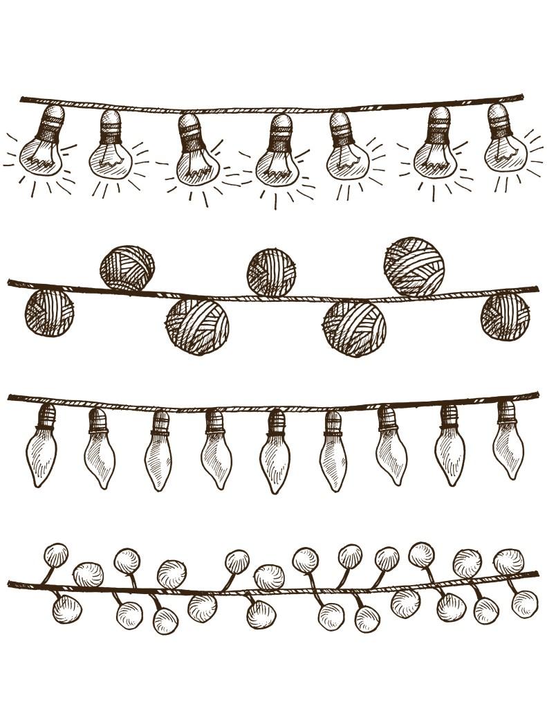 Lumières de noel vintage à dessiner