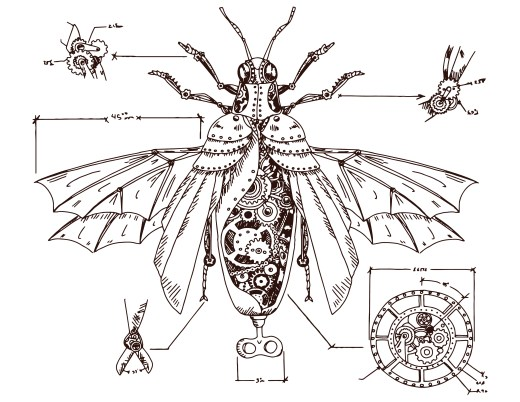 Coloriage abeille steampunk art work gratuit