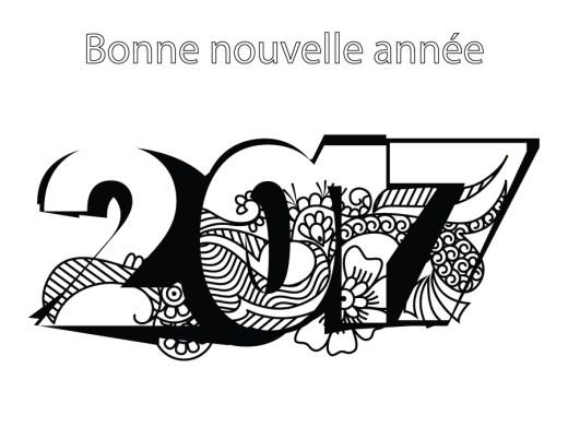 Bonne nouvelle année 2017 coloriage doodle