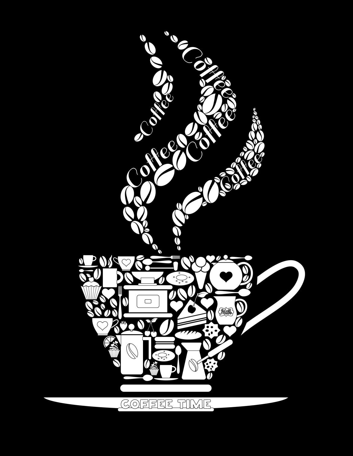 Coloriage noir coffee time à imprimer