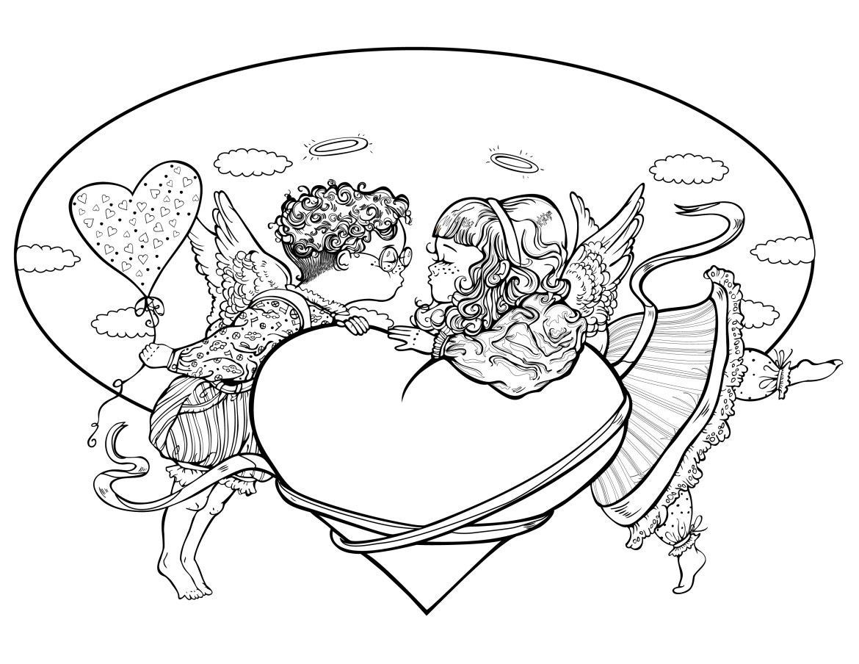 Carte de saint valentin anges à colorier