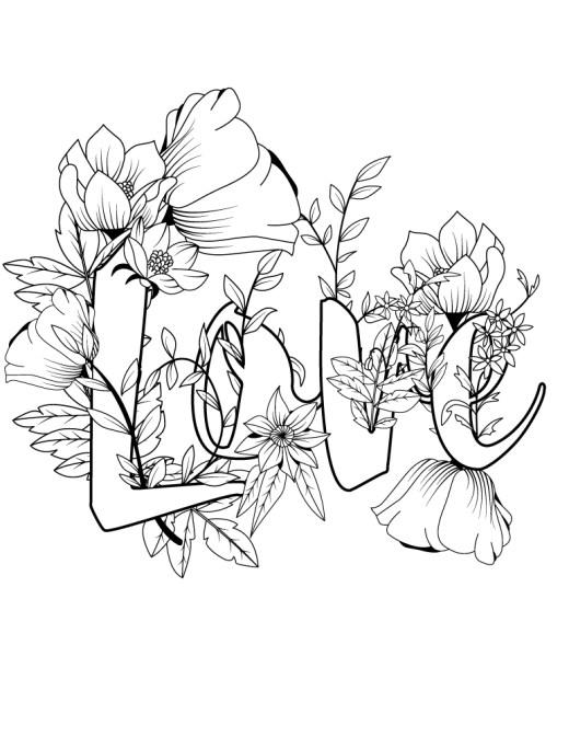 Carte de saint valentin fleurs love à colorier