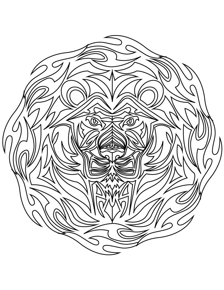Image tattoo tribal lion à colorier