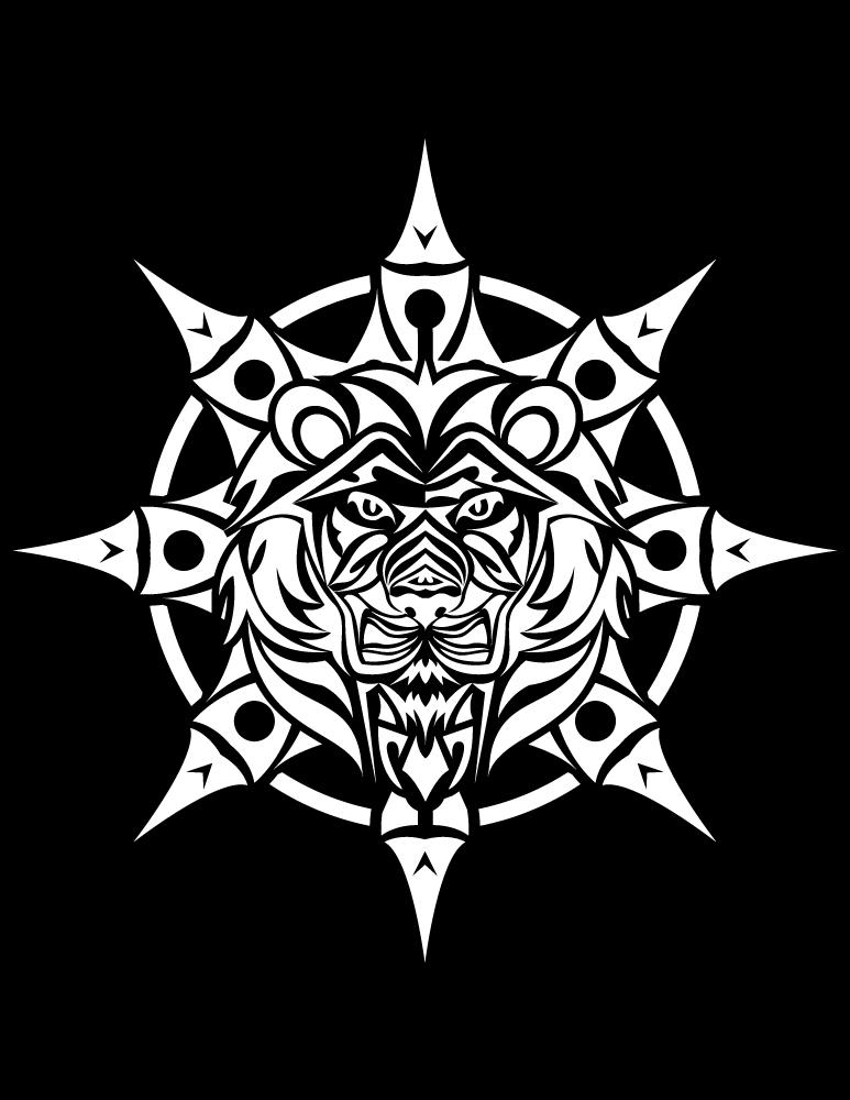 Tribal dessiner mandala lion fond noir - Dessin fond noir ...