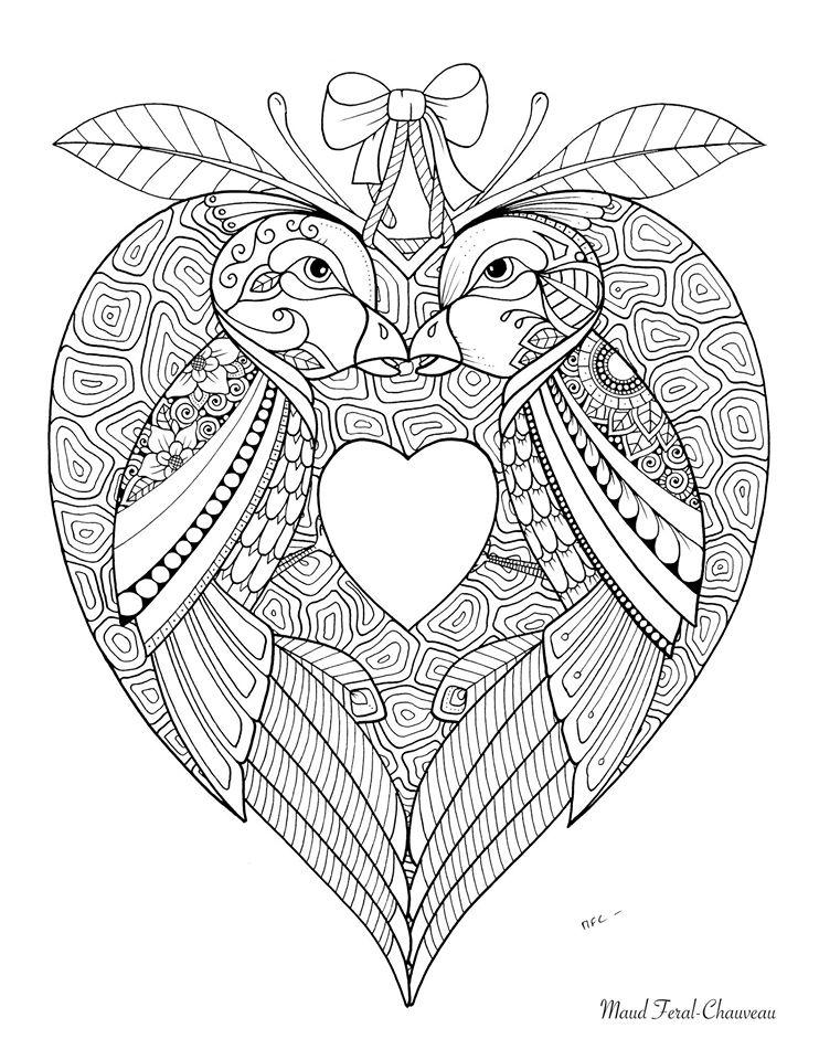Oiseaux amoureux coloriage st valentin par maud feral - St valentin dessin ...