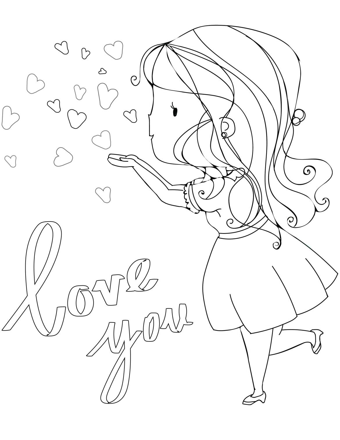 Fillette je t'aime de saint valentin à imprimer