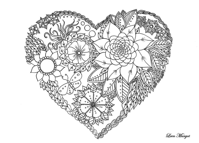 Coloriage de coeur Saint valentin par Leen Margot