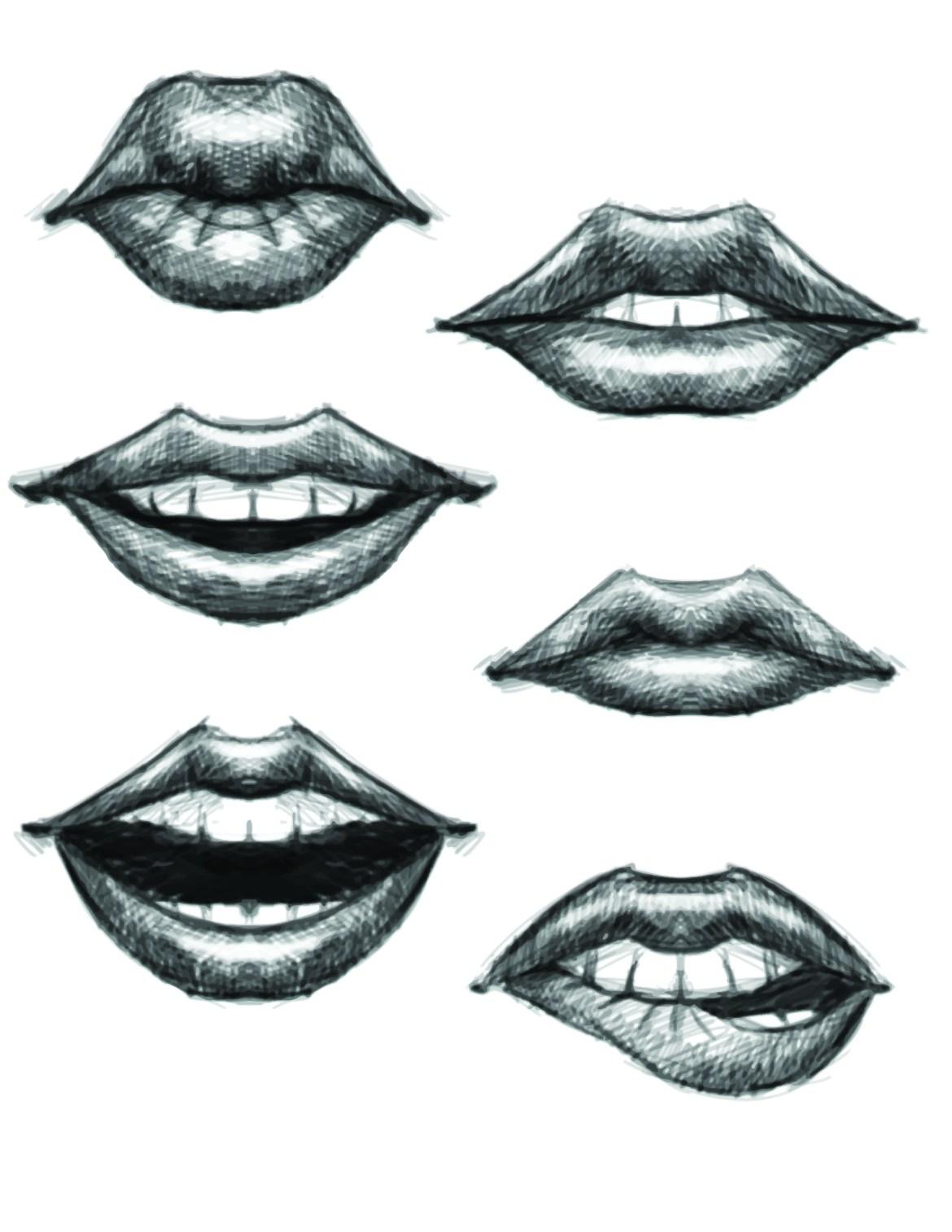 Lèvres grayscale pour pratique coloriage