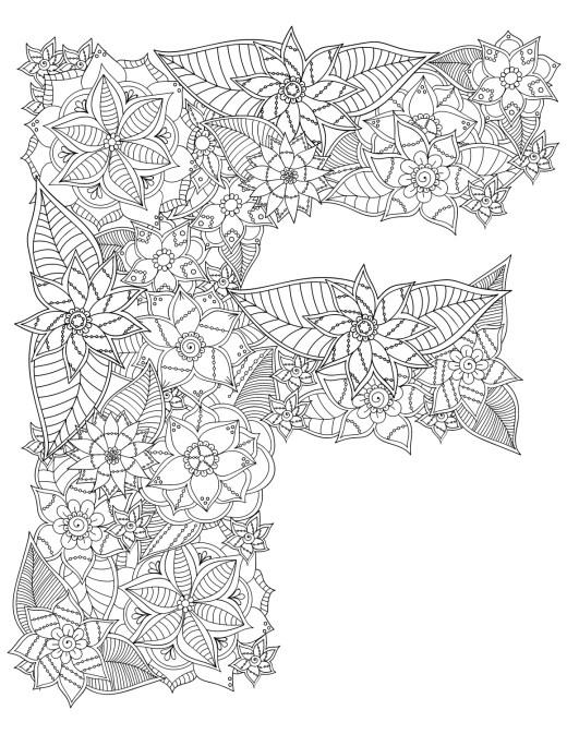 F majuscule en fleurs lettre a colorier pour adulte