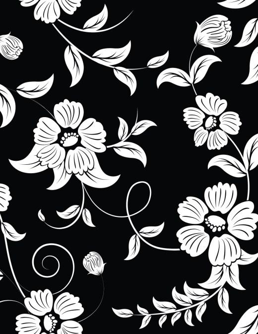 Coloriage fond noir à imprimer fleurs sauvage