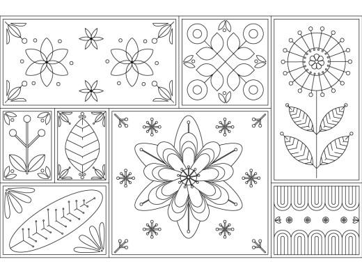 Tapisserie de cadre fleurs coloriage pour adulte