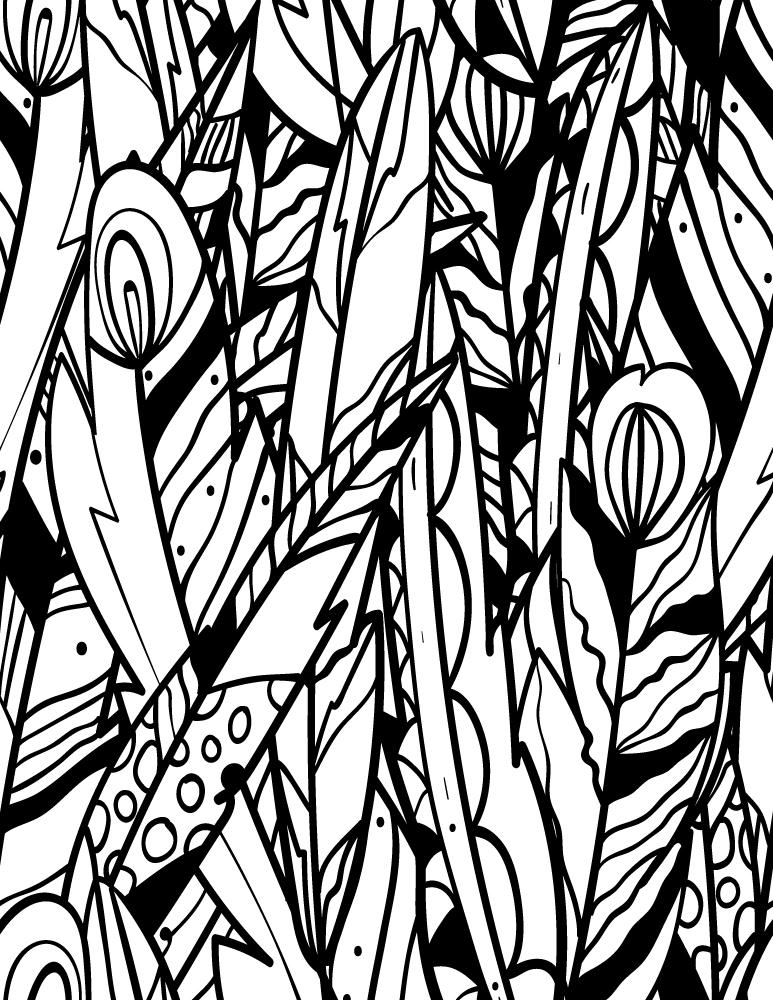 Page noire doodle de plumes à imprimer