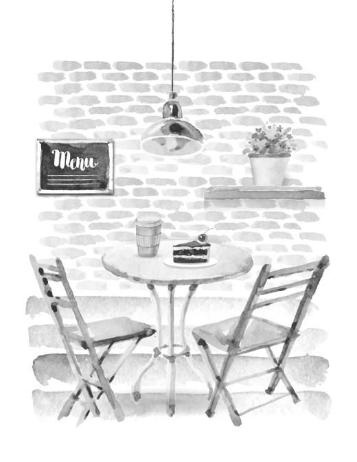 Restaurant café page grayscale à colorier