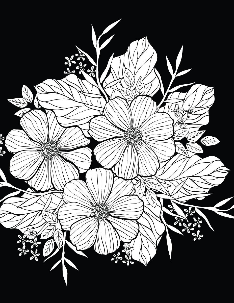 Petites fleurs avec background noir à colorier