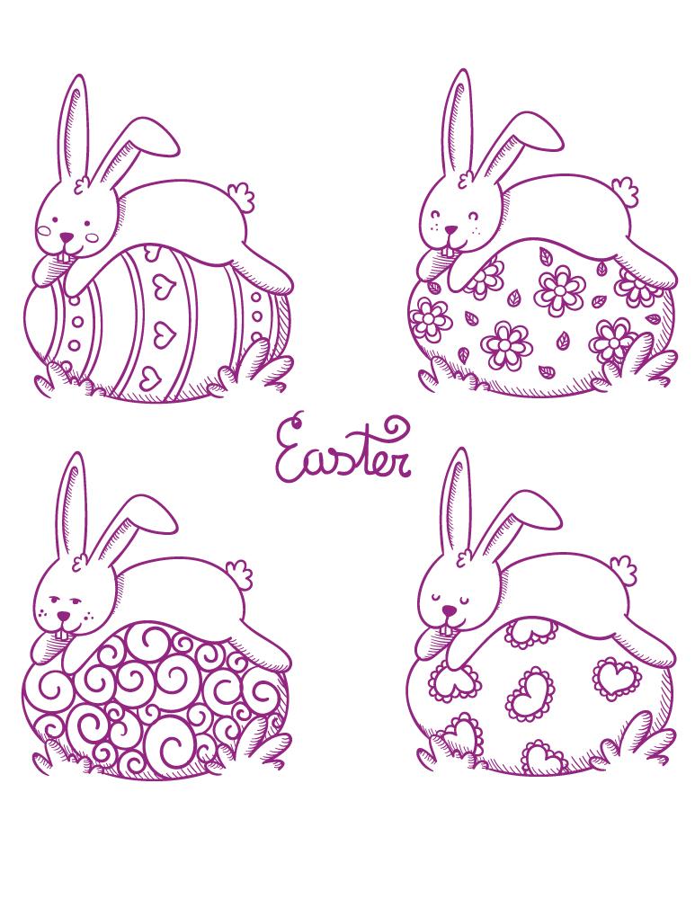 Lapins et oeufs de Pâques gratuit à dessiner - Artherapie.ca