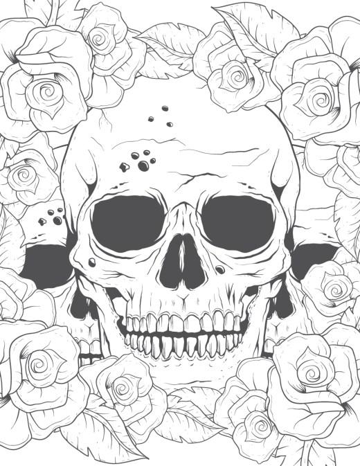 Coloriage pour adulte crane et roses à imprimer
