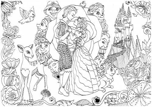 Coloriage à imprimer princesse Blanche neige
