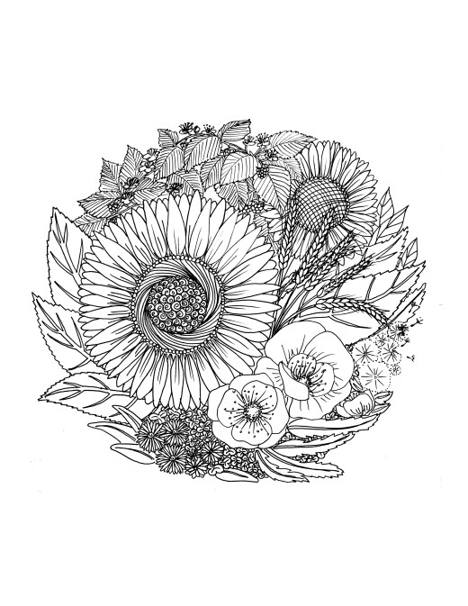 Coloriage gratuit à imprimer fleurs par Chocobo