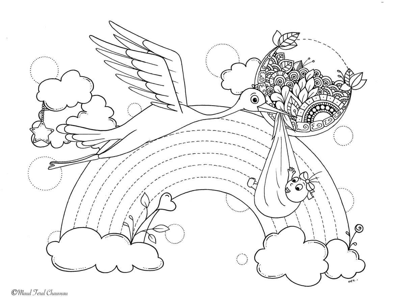 Coloriage légende de la cigogne par Maud Feral