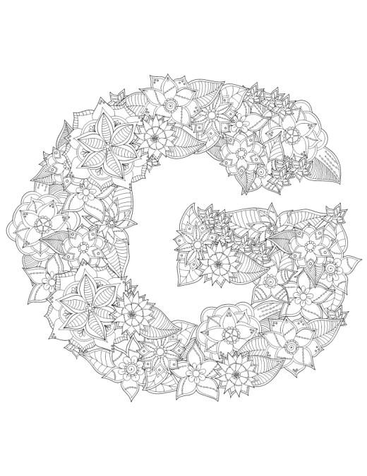 G majuscule en fleurs lettre a dessiner pour adulte