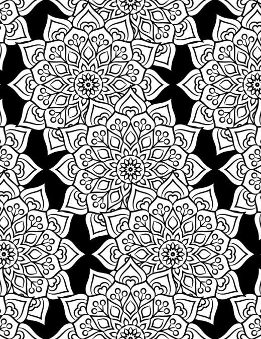 Mandala fond noir coloriage pour adulte