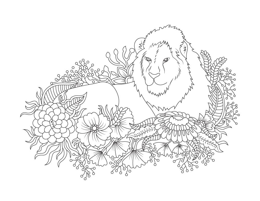 Coloriage De Felin A Imprimer Lion Dans Fleurs Artherapie Ca