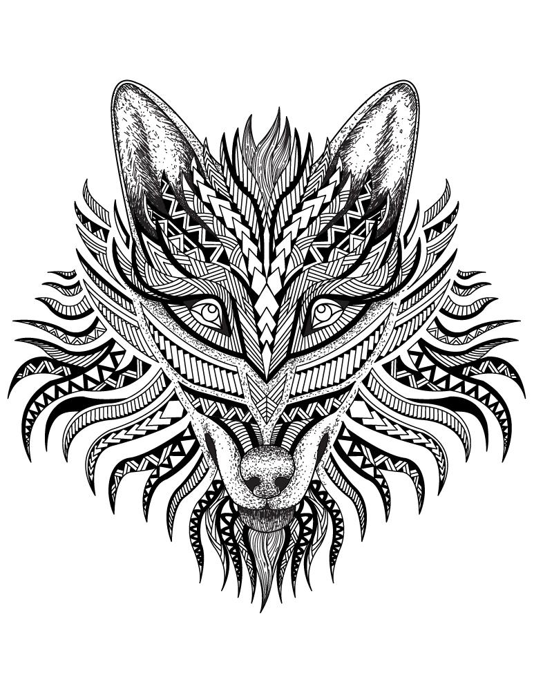 Loup animal totem amérindien à colorier