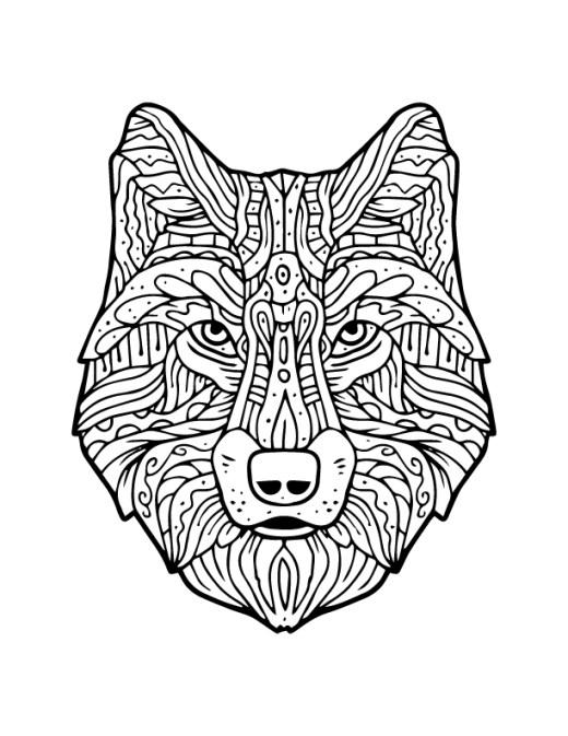 Méchant loup à imprimer et colorier artherapie adulte