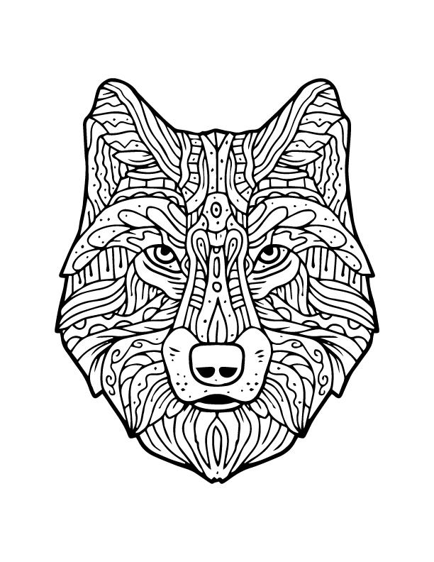 M chant loup imprimer et colorier artherapie adulte - Modele de loup a imprimer ...