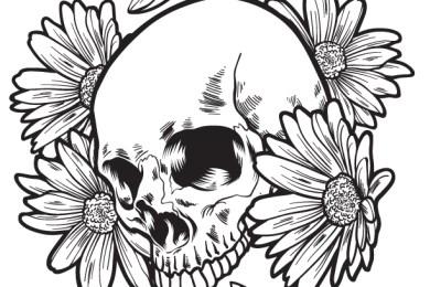 Crane et fleurs à dessiner artherapie pour adulte