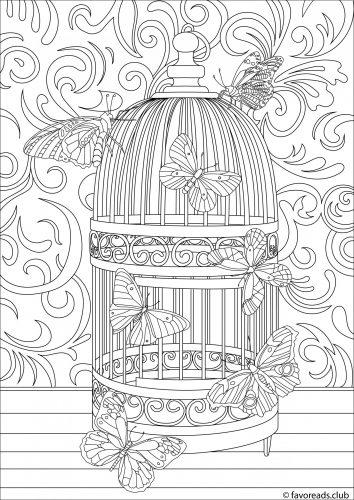 Image papillon en cage à colorier par Favoreads