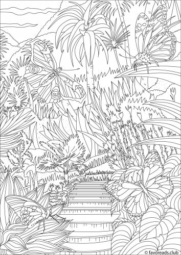 Papillon au paradis coloriage pour adulte par Favoreads