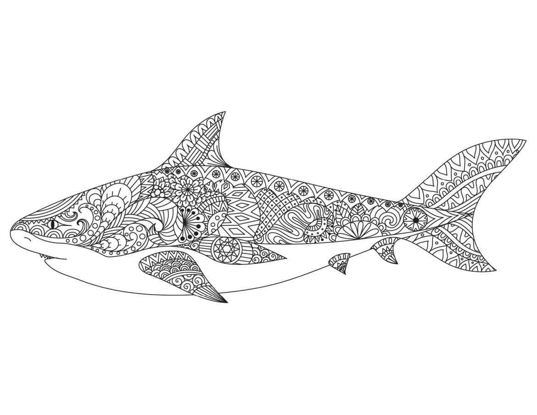 Dessin pour adulte antistress requin à imprimer