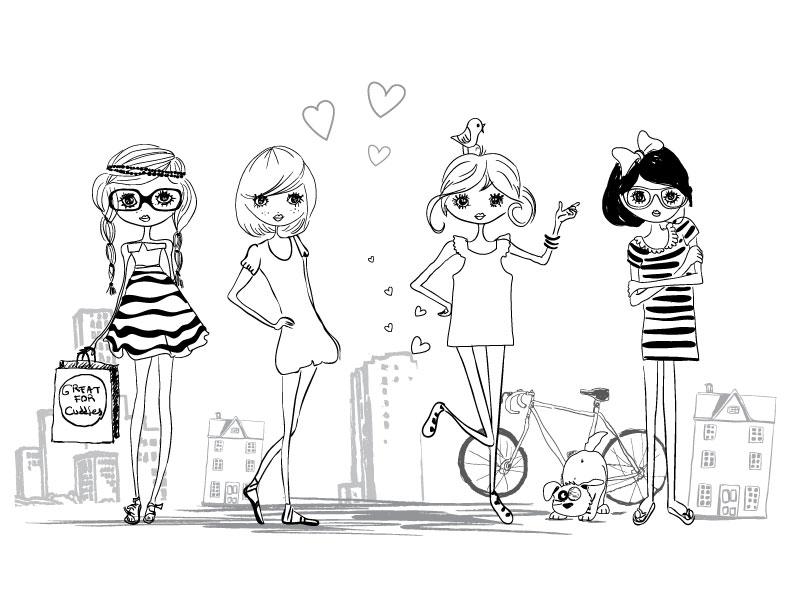 Mignonne fillettes à colorier artherapie dessin gratuit