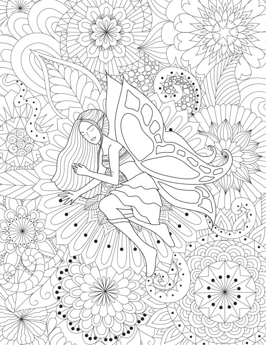 Mandalas avec fée coloriage très difficile à imprimer