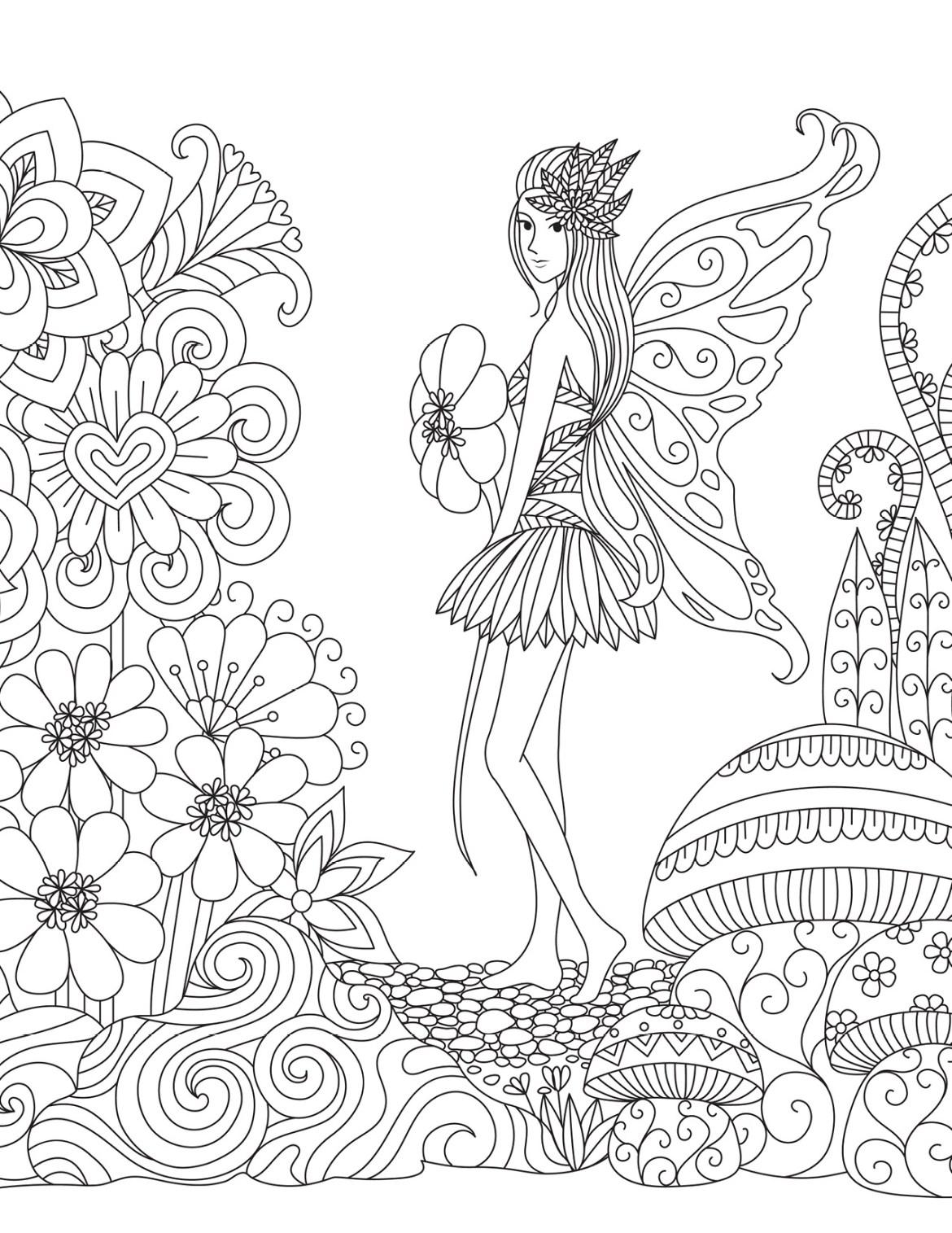 Dessin Fée Des Fleurs Pour Adulte à Colorier Artherapieca